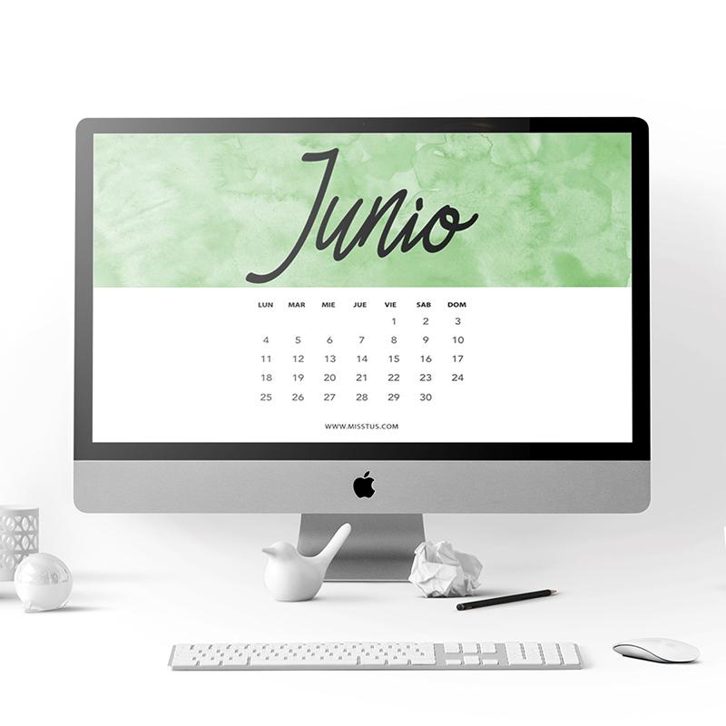 Calendario Junio Pantalla Imprimir