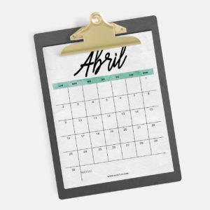 Calendario Abril Imprimir fondo pantalla