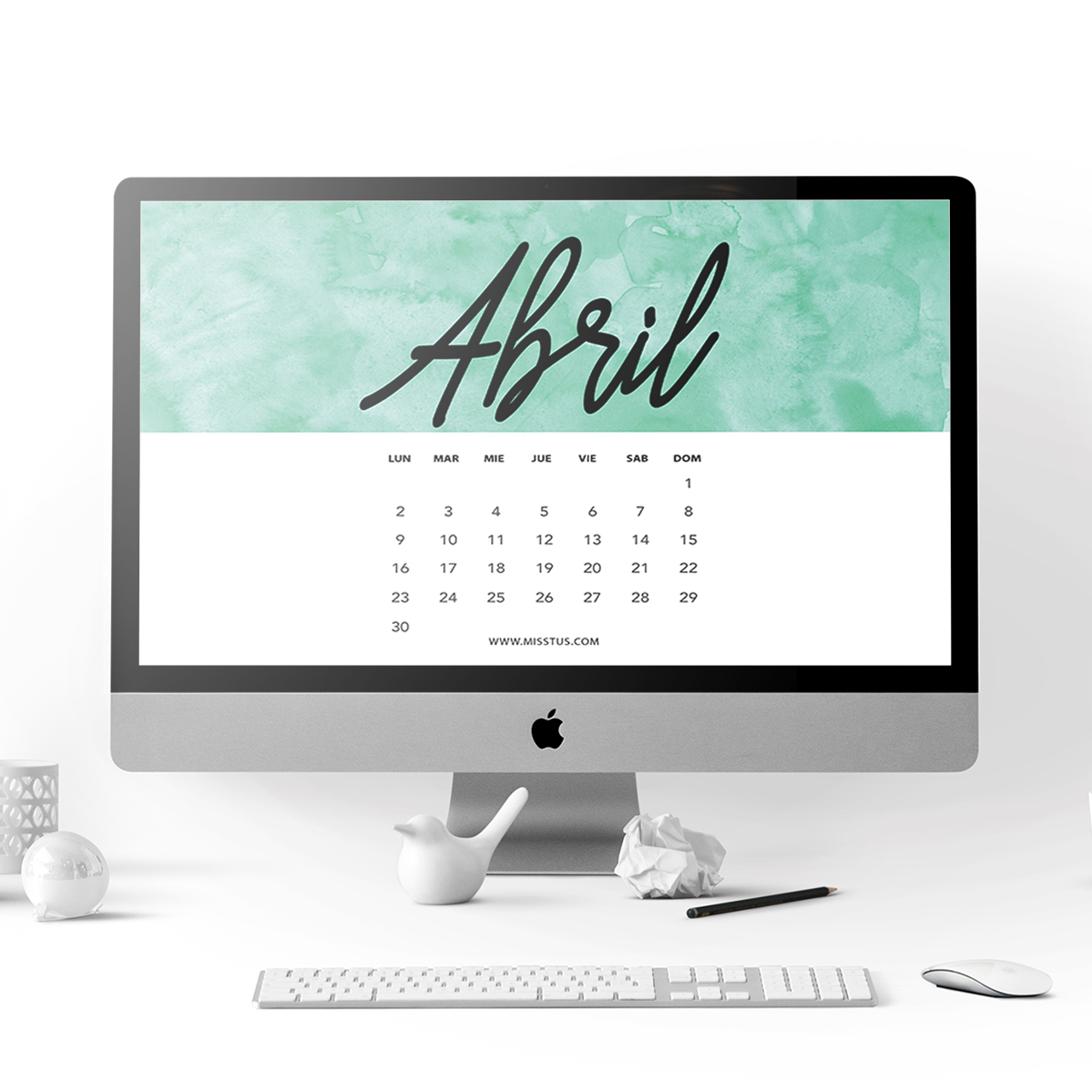 Miss tus calendario para abril 2018 para pantalla e imprimir for Fondo de pantalla calendario 2018