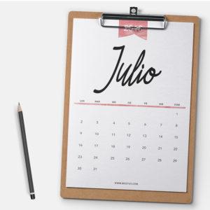 calendario julio pantalla imprimir