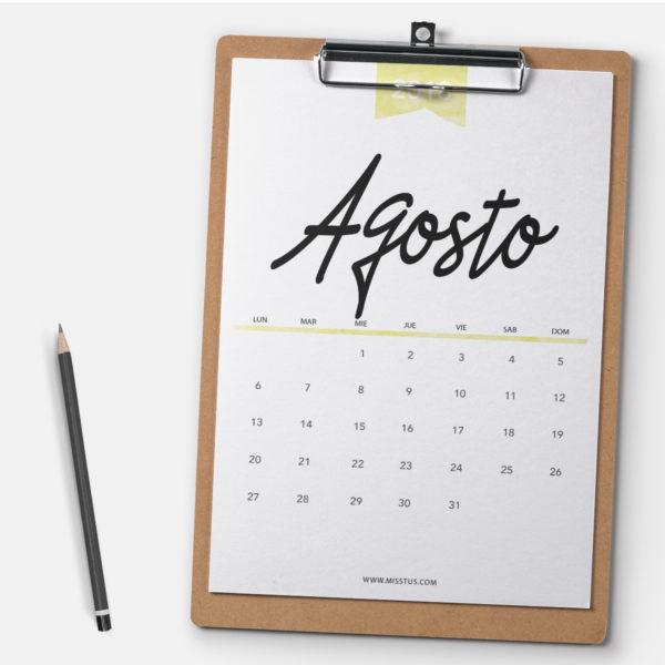 Calendario Agosto Pantalla Imprimir