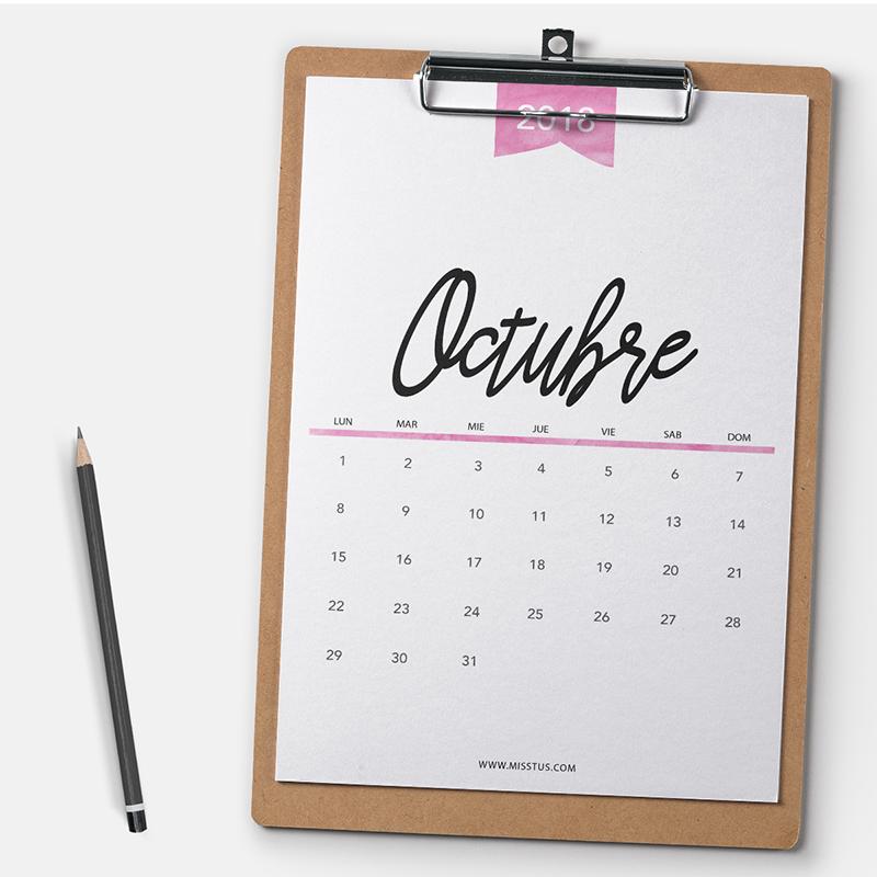 Fechas Talleres Dulces De Octubre: Calendario Para Octubre 2018 Para Pantalla E