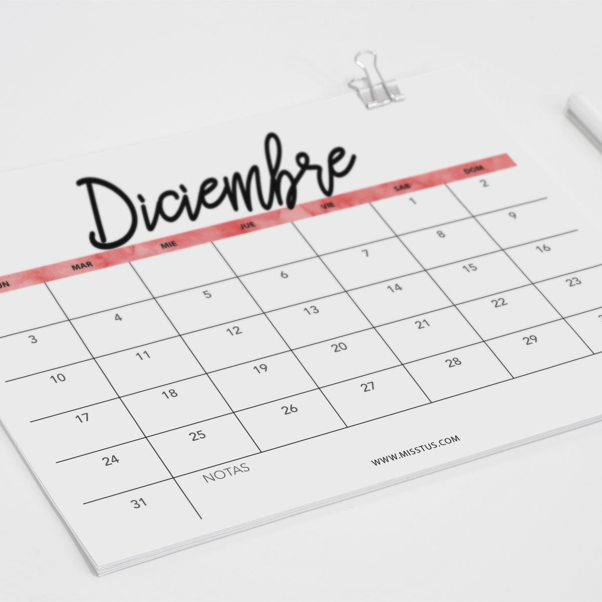 Calendario Diciembre.Miss Tus Calendario Para Diciembre 2018 Para Pantalla E
