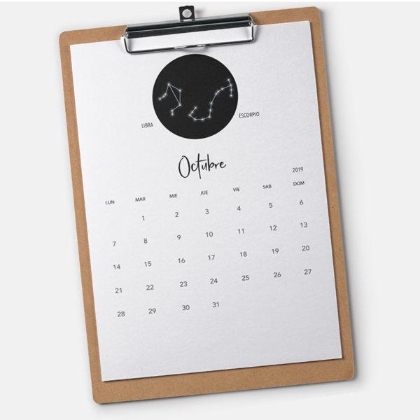 Calendario zodiacos 2019