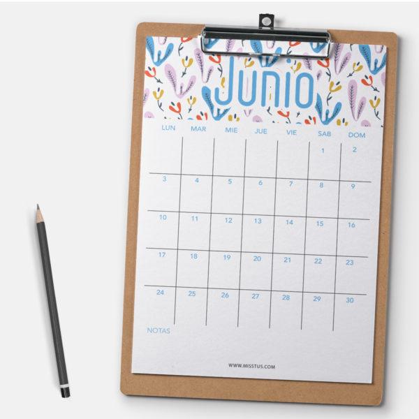 Calendario para Junio 2019