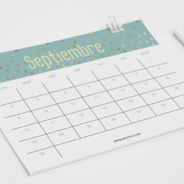 Calendario para septiembre 2019