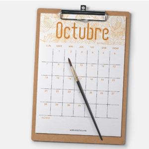 Calendario para octubre 2019